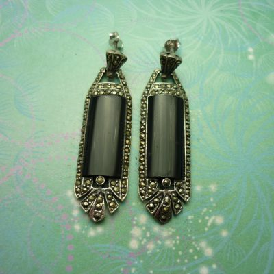 Vintage Sterling Silver Earrings - Black Onyx - 925 Hallmarked - Style 30