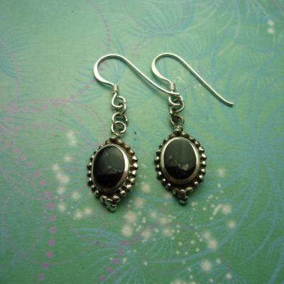 Vintage Sterling Silver Earrings - Black Onyx - 925 Hallmarked - Style 32