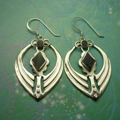 Vintage Sterling Silver Earrings - Black Onyx - 925 Hallmarked - Style 33