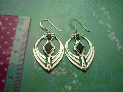 Vintage Sterling Silver Earrings - Black Onyx - 925 Hallmarked - Style 33