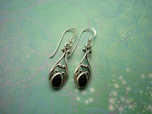 Vintage Sterling Silver Earrings - Black Onyx - 925 Hallmarked - Style 35