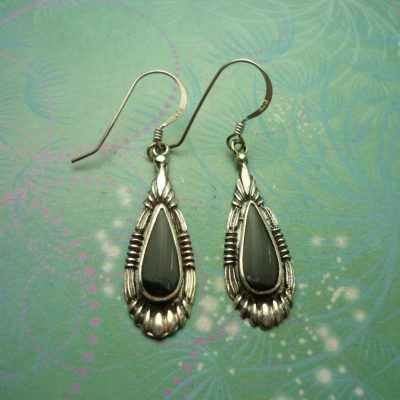 Vintage Sterling Silver Earrings - Black Onyx - 925 Hallmarked - Style 36