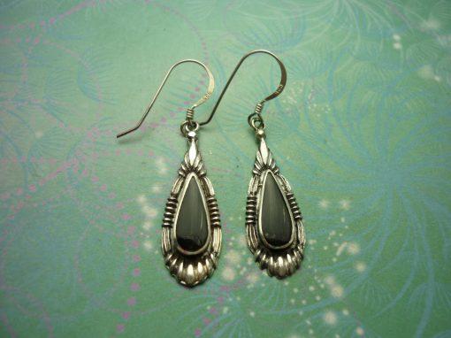 Vintage Sterling Silver Earrings - Black Onyx - 925 Hallmarked - Style 36