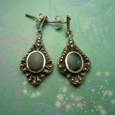 Vintage Sterling Silver Earrings - Black Onyx - 925 Hallmarked - Style 37