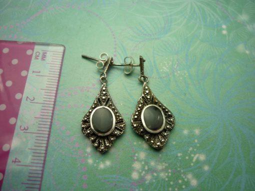Vintage Sterling Silver Earrings - Black Onyx - 925 Hallmarked - Style 37