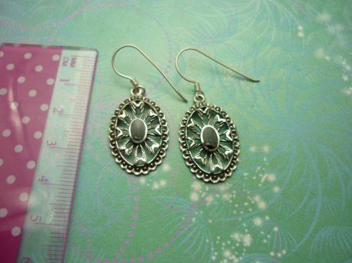 Vintage Sterling Silver Earrings - Black Onyx - 925 Hallmarked - Style 38