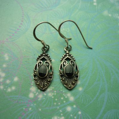 Vintage Sterling Silver Earrings - Black Onyx - 925 Hallmarked - Style 41