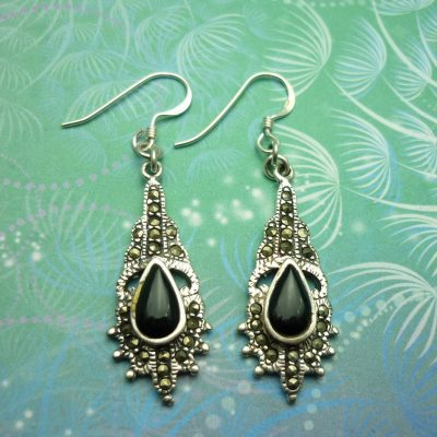 Vintage Sterling Silver Earrings - Black Onyx - Art Deco - Marcasite - Style 14