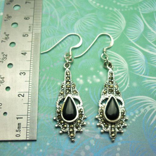 Vintage Sterling Silver Earrings - Black Onyx - Art Deco - Marcasite - Style 14