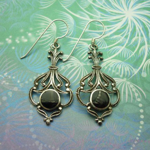 Vintage Sterling Silver Earrings - Black Onyx Earrings, Black Earrings, Gemstone Earrings, Gift for Her, Onyx and Silver Earrings, Onyx