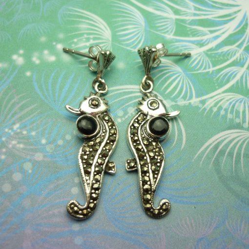 Vintage Sterling Silver Earrings - Black Onyx - Seahorses - Marcasite - Gift for Her - Unique Vintage Earrings
