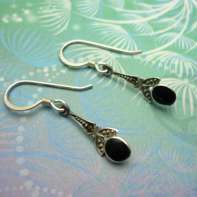 Vintage Sterling Silver Earrings - Black Onyx - Style 1