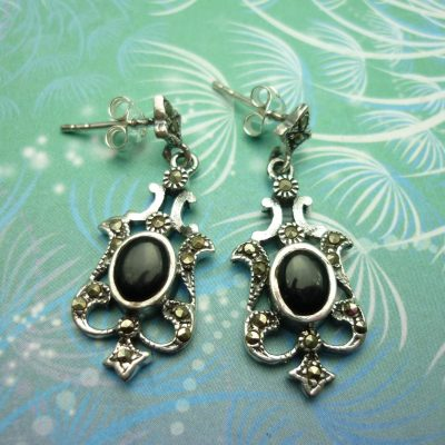 Vintage Sterling Silver Earrings - Black Onyx - Style 10