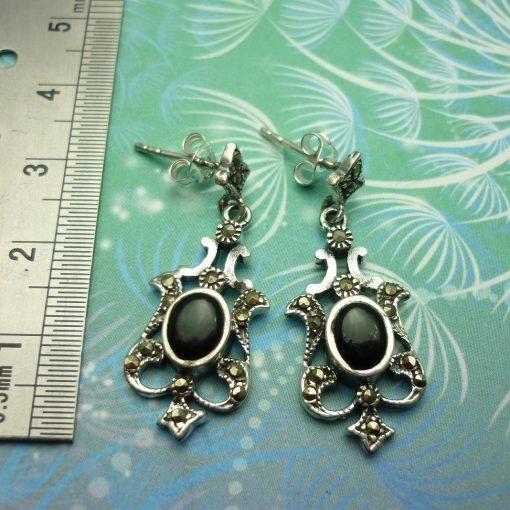Vintage Sterling Silver Earrings - Black Onyx - Style 10