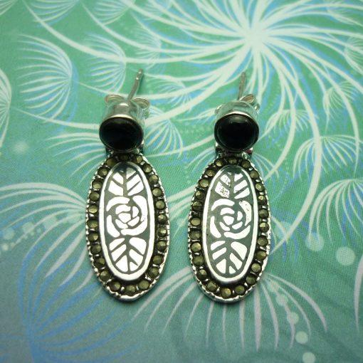 Vintage Sterling Silver Earrings - Black Onyx - Style 12