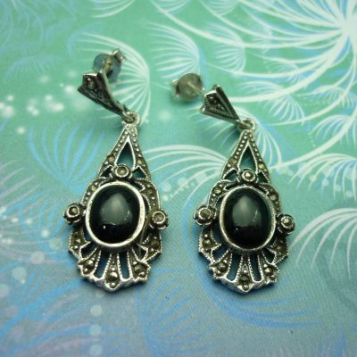Vintage Sterling Silver Earrings - Black Onyx - Style 13