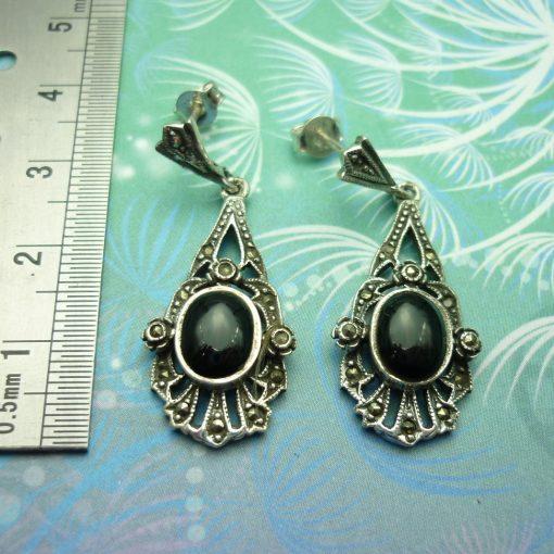 Vintage Sterling Silver Earrings - Black Onyx - Style 13
