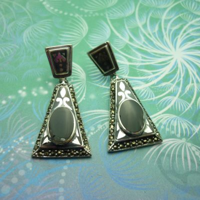 Vintage Sterling Silver Earrings - Black Onyx - Style 15