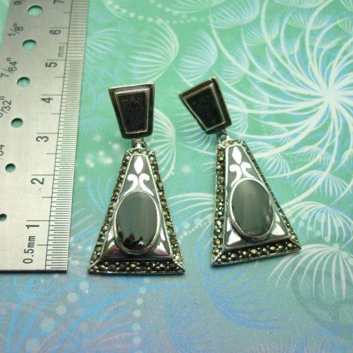 Vintage Sterling Silver Earrings - Black Onyx - Style 15
