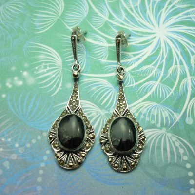Vintage Sterling Silver Earrings - Black Onyx - Style 16