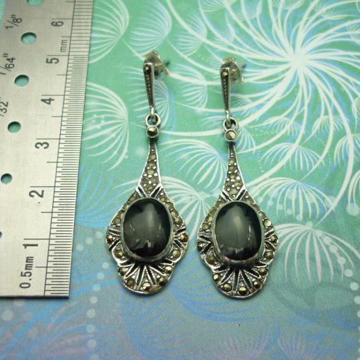 Vintage Sterling Silver Earrings - Black Onyx - Style 16