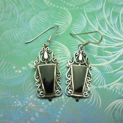 Vintage Sterling Silver Earrings - Black Onyx - Style 18