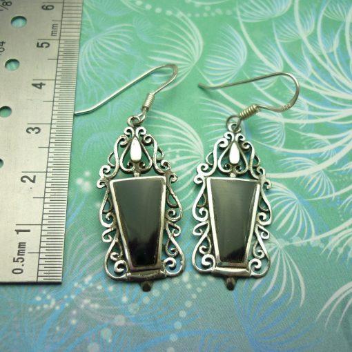 Vintage Sterling Silver Earrings - Black Onyx - Style 18