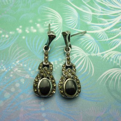 Vintage Sterling Silver Earrings - Black Onyx - Style 19