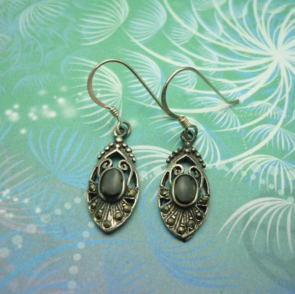 Vintage Sterling Silver Earrings - Black Onyx - Style 2
