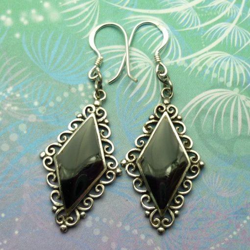 Vintage Sterling Silver Earrings - Black Onyx - Style 20
