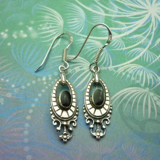 Vintage Sterling Silver Earrings - Black Onyx - Style 22