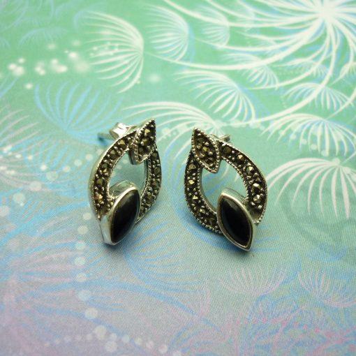 Vintage Sterling Silver Earrings - Black Onyx - Style 4