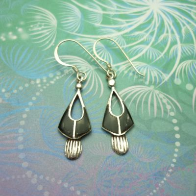 Vintage Sterling Silver Earrings - Black Onyx - Style 5