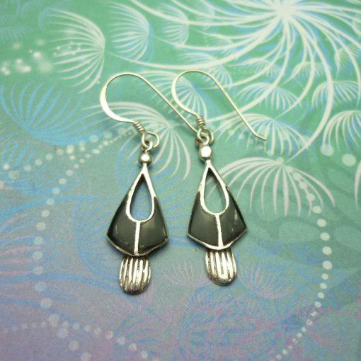 Vintage Sterling Silver Earrings - Black Onyx - Style 5