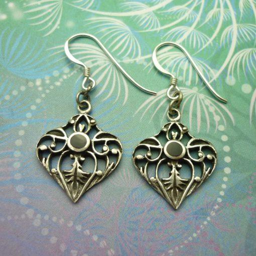 Vintage Sterling Silver Earrings - Black Onyx - Style 7