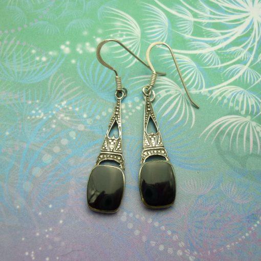 Vintage Sterling Silver Earrings - Black Onyx - Style 8