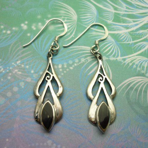 Vintage Sterling Silver Earrings - Black Onyx - Style 9