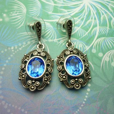 Vintage Sterling Silver Earrings - Blue Crystals