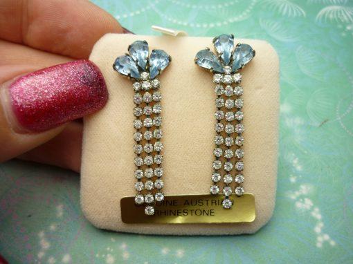 Vintage Sterling Silver Earrings - Blue Petals