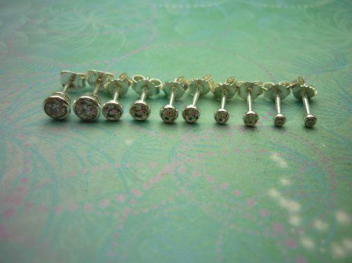 Vintage Sterling Silver Earrings Cubic Zirconia Studs