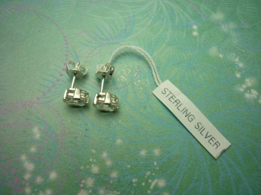 Vintage Sterling Silver Earrings - Emerald Cut CZ Studs