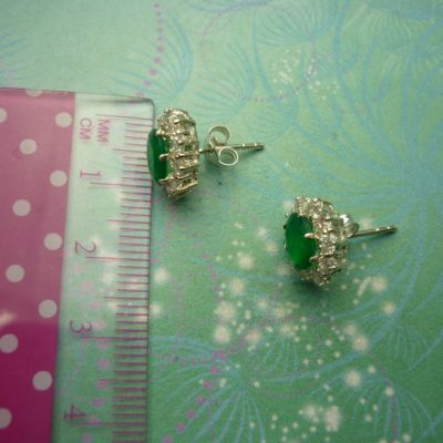 Vintage Sterling Silver Earrings - Green Chalcedony and Cubic Zirconias