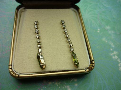 Vintage Sterling Silver Earrings - Green/Yellow Navette