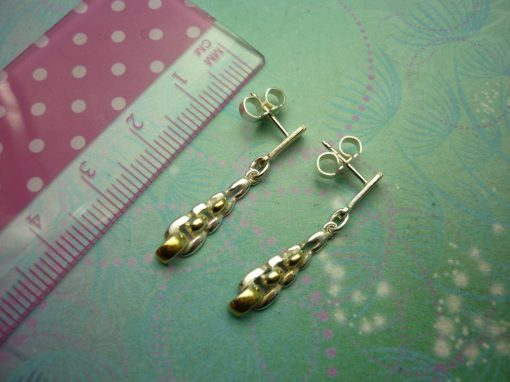 Vintage Sterling Silver Earrings link look with gold plated highlights