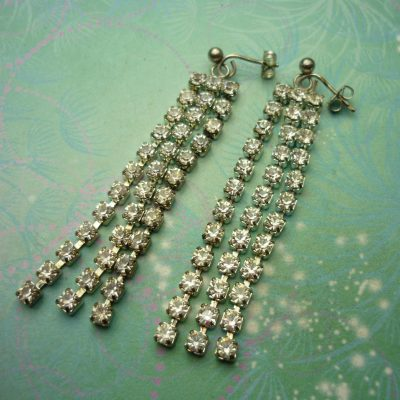 Vintage Sterling Silver Earrings - Long Dangly Crystals