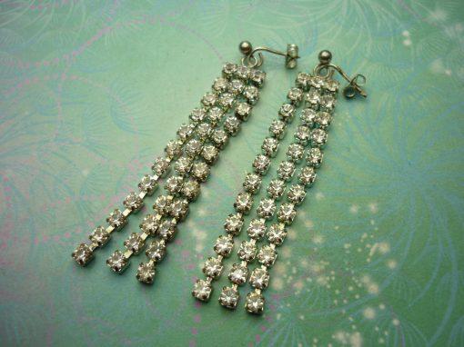 Vintage Sterling Silver Earrings - Long Dangly Crystals