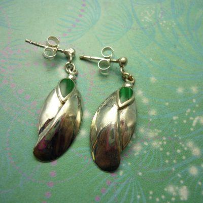 Vintage Sterling Silver Earrings - Malachite