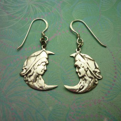 Vintage Sterling Silver Earrings Moon Goddess