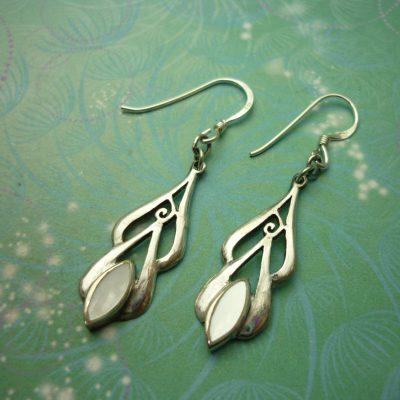 Vintage Sterling Silver Earrings - Mother of Pearl