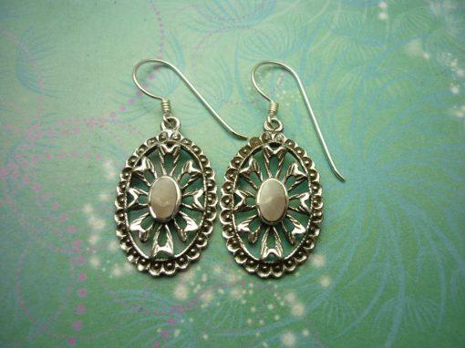 Vintage Sterling Silver Earrings - Pink Shell